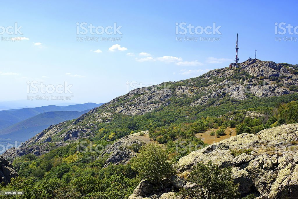 Mountain Communications Station and Antenna. royalty-free stock photo