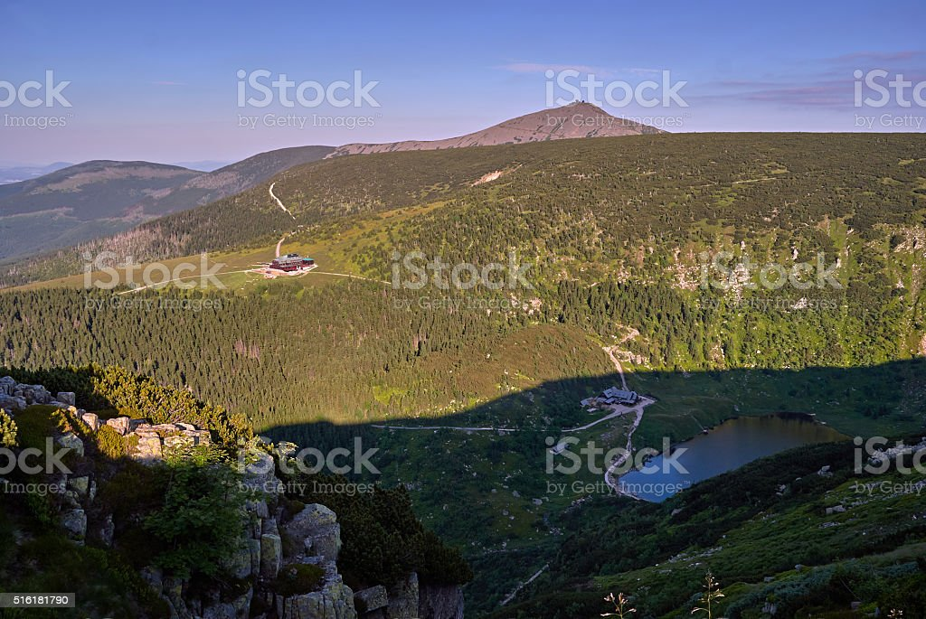 Mountain cottage in the Giant Mountains stock photo