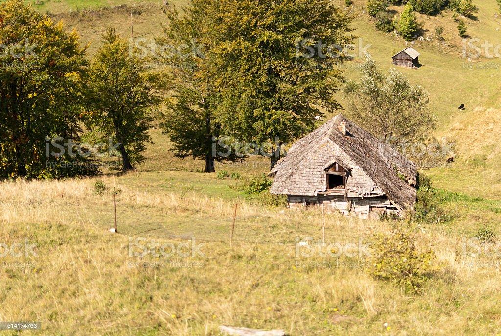 Mountain cottages stock photo
