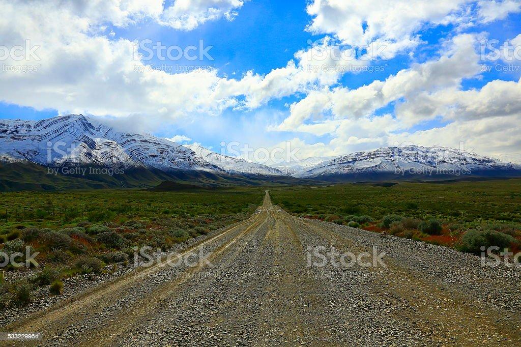 Mountain Country Road near Chalten, Patagonia Argentina, Los Glaciares stock photo
