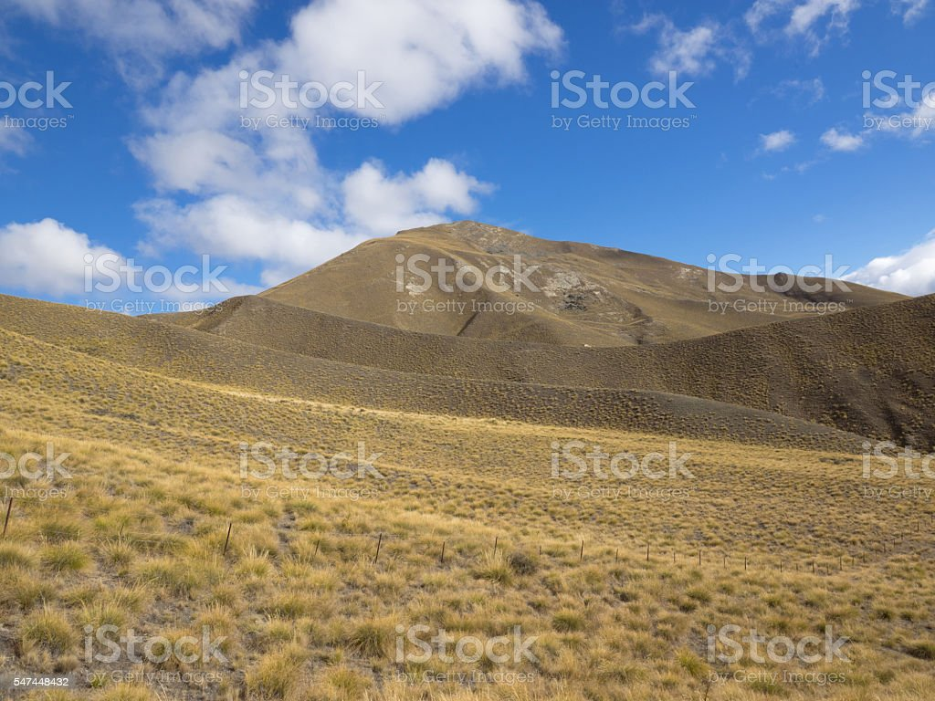 mountain cover with tussock on Lindis Pass stock photo