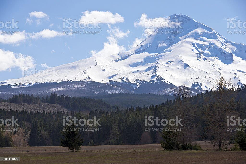 Mountain covered with snow stock photo