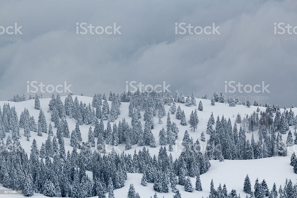 Mountain covered with snow. stock photo