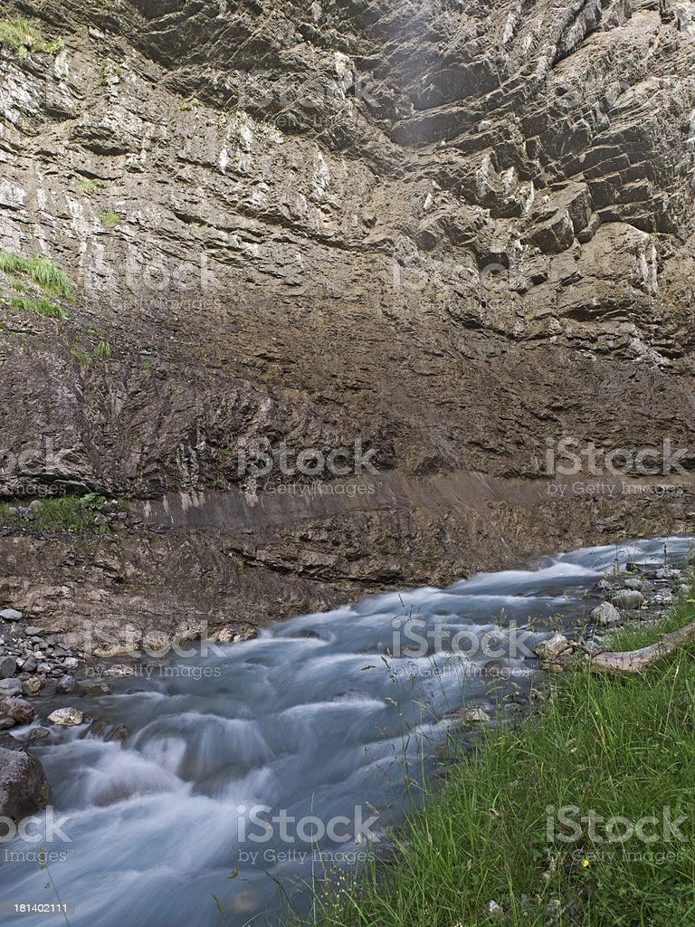 Mountain creek between rock wall and meadow royalty-free stock photo