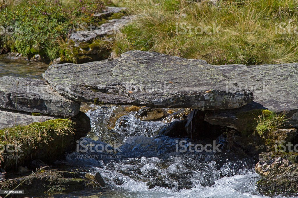 Mountain creek in Oetztal valley stock photo