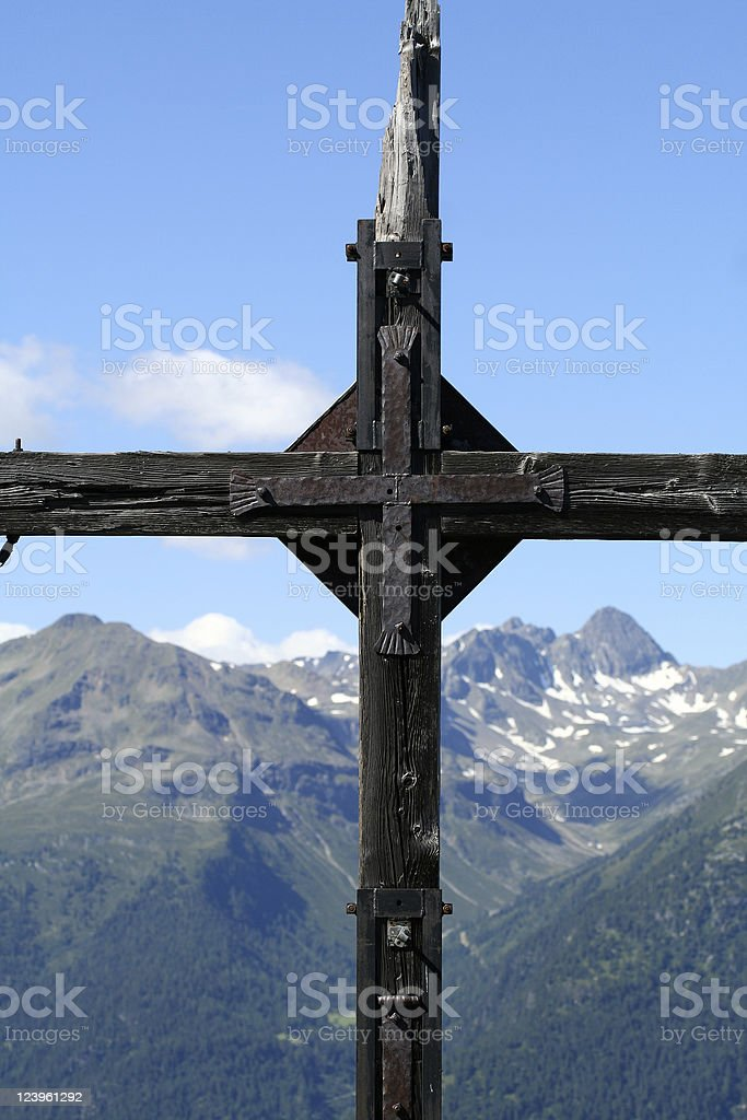 Mountain cross royalty-free stock photo