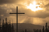 Mountain Cross with Sunbeams