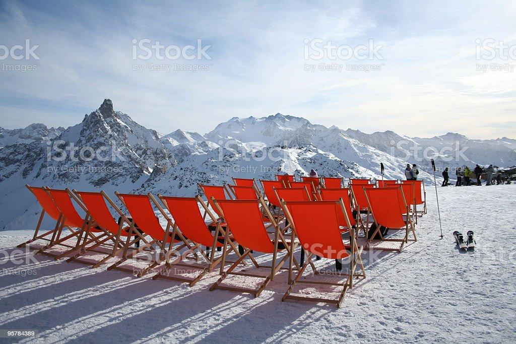 Mountain deckchairs stock photo