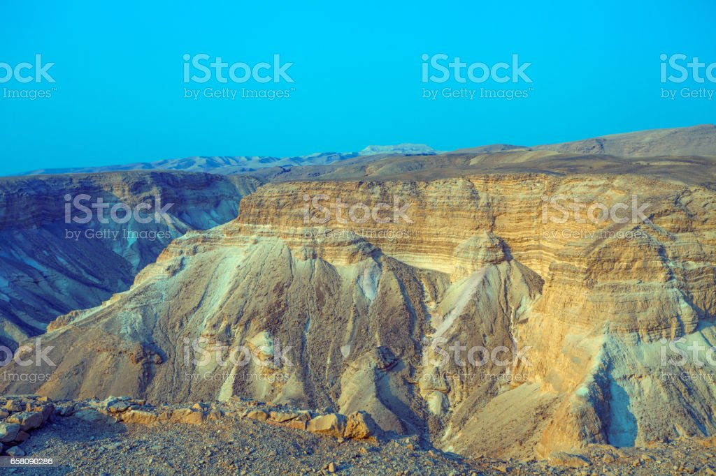 Mountain desert landscape. Nature Israel. Masada stock photo