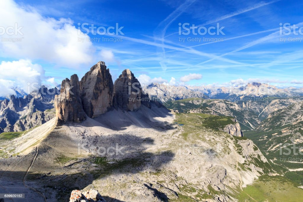Mountain Drei Zinnen and Sexten Dolomites panorama, South Tyrol, Italy stock photo
