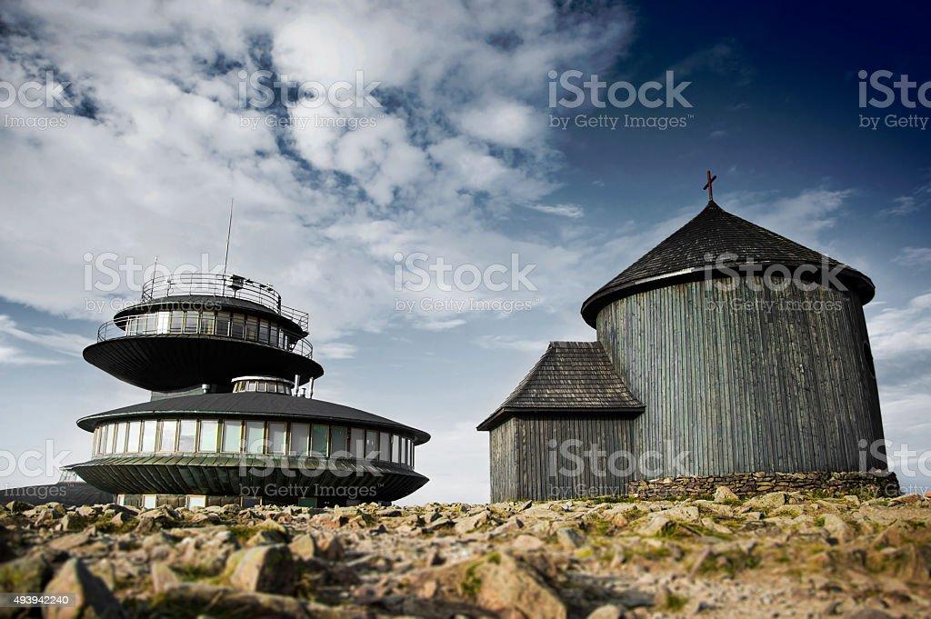 Mountain expedition to the summit of Sniezka. stock photo