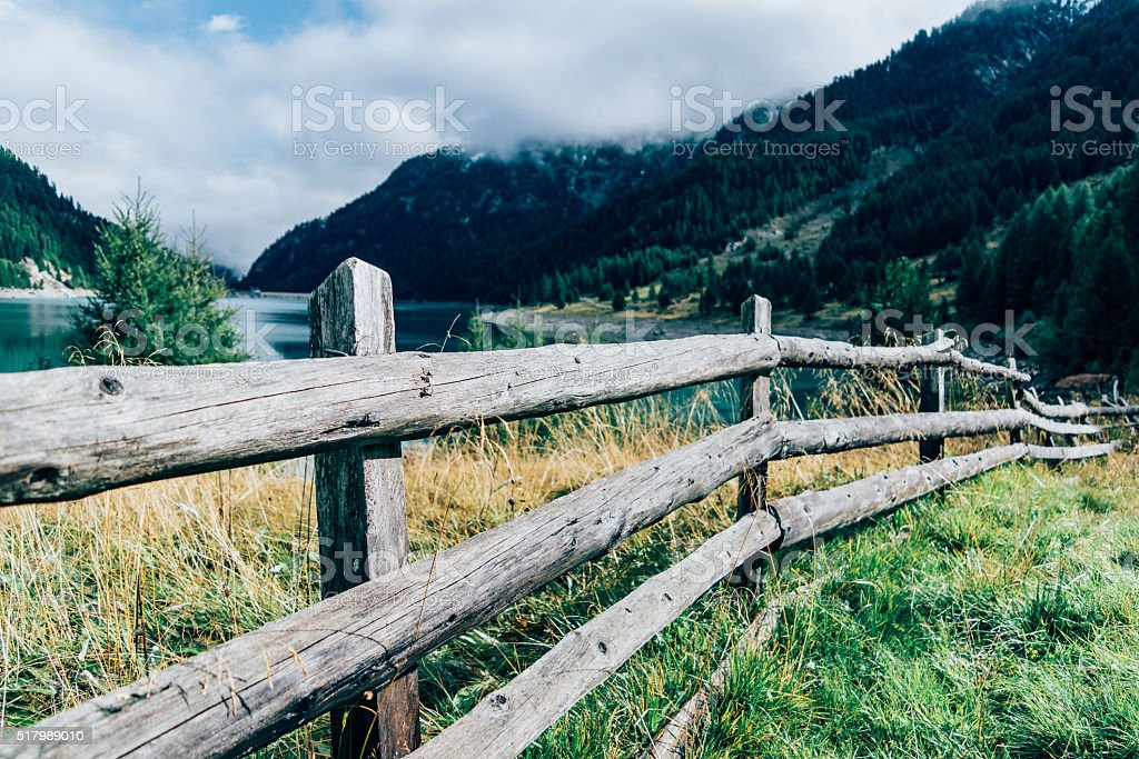 mountain fence stock photo