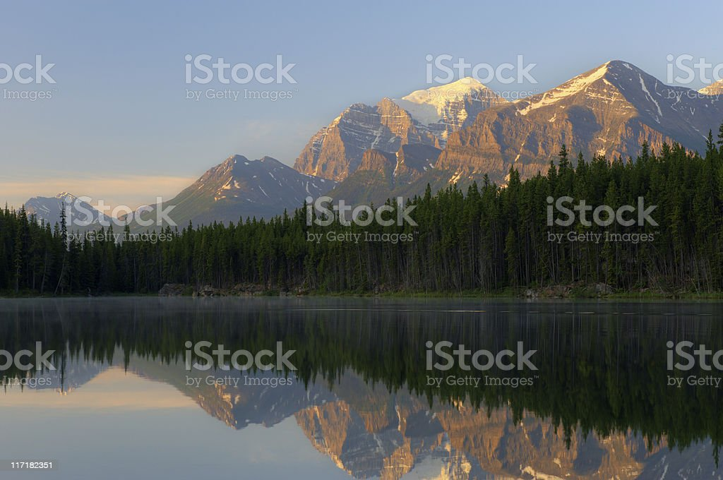 Mountain, Forest and Lake at Sunrise royalty-free stock photo