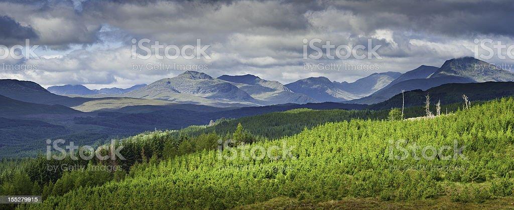 Mountain forest landscape Highlands light panorama Scotland royalty-free stock photo