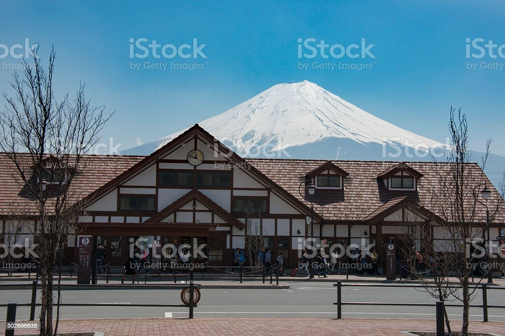 Mountain Fuji behind Kawaguchiko Station, Minamitsuru District, Yamanashi Prefecture, Japan stock photo