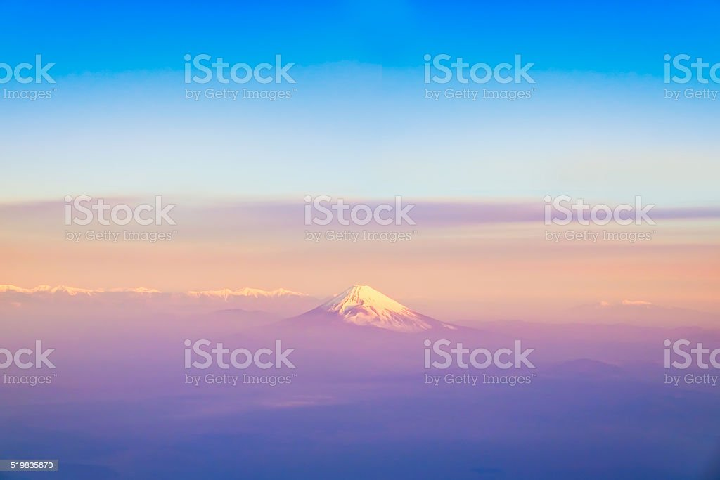 Mountain Fuji bird's eye view, Shizuoka, Japan. stock photo
