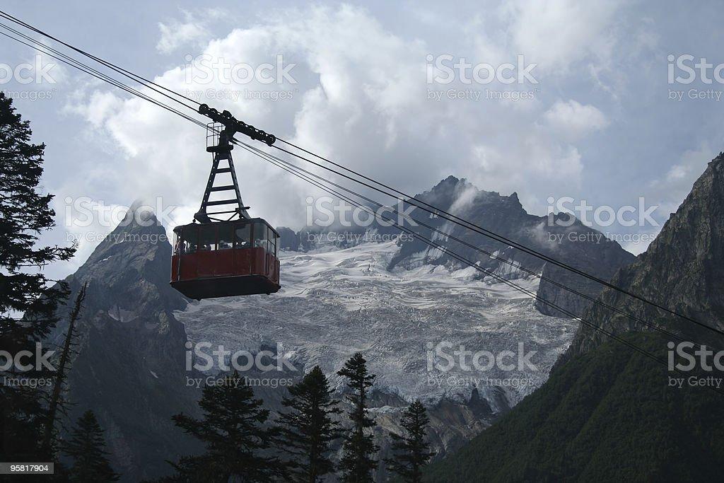 mountain funicular in Dombai royalty-free stock photo