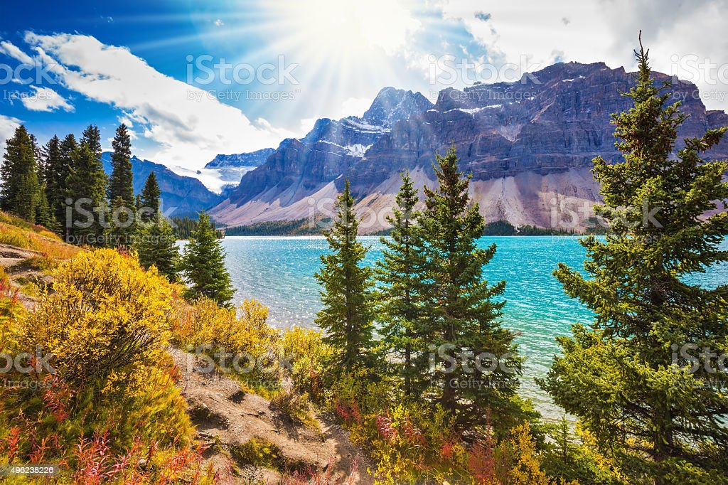 Mountain glacial Bow Lake stock photo