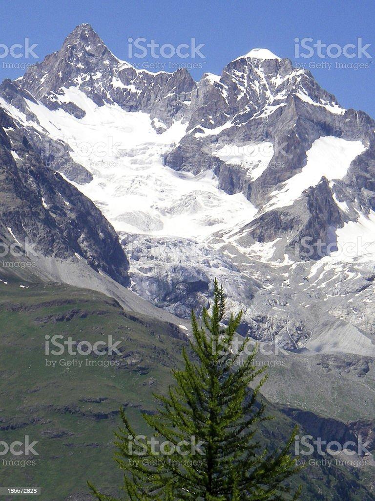 Mountain Glacier Landforms the Swiss Alps near Zermatt Switzerland stock photo