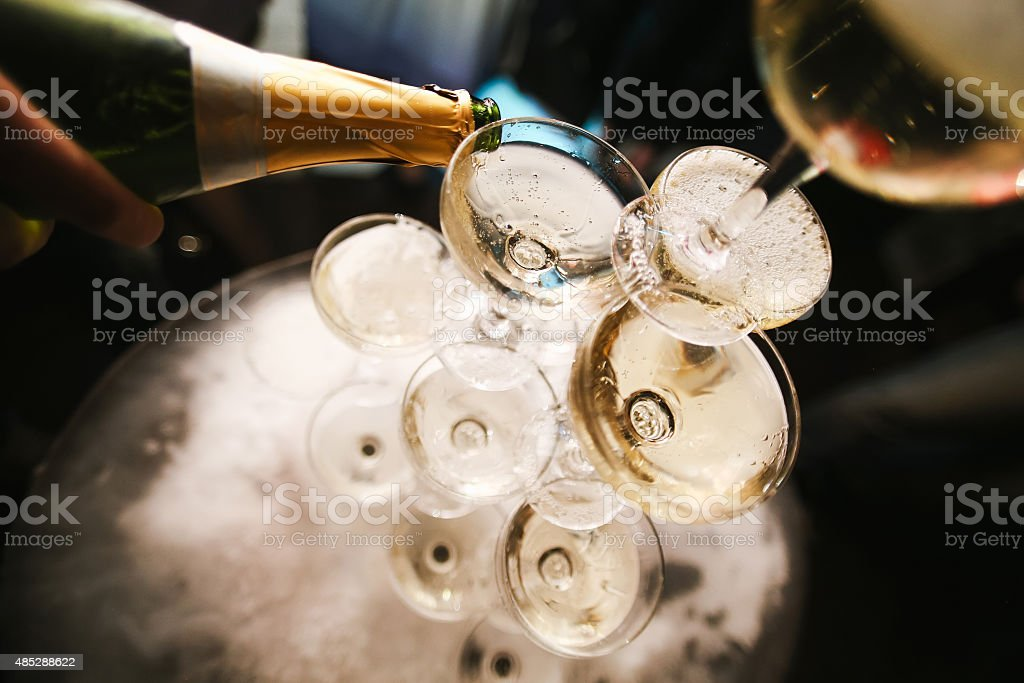 mountain glasses of champagne stock photo