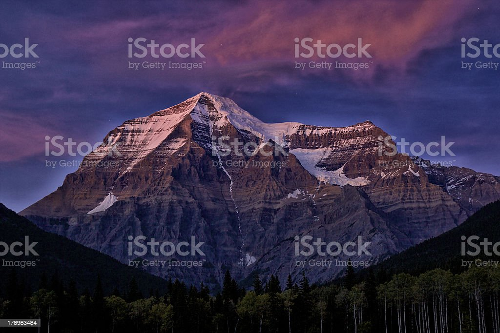 mountain glowing in a canadian provincial park stock photo