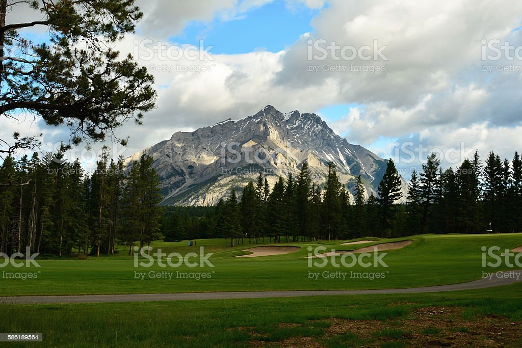 Mountain golf course hole stock photo