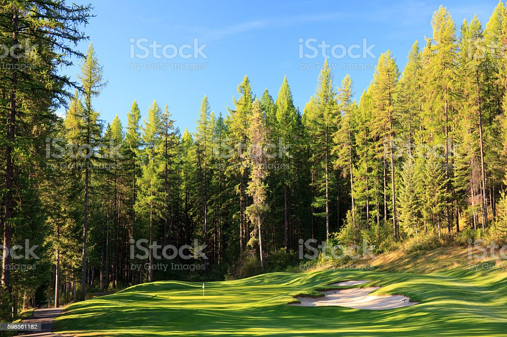 Mountain Golf Green With Beautiful Fairway stock photo