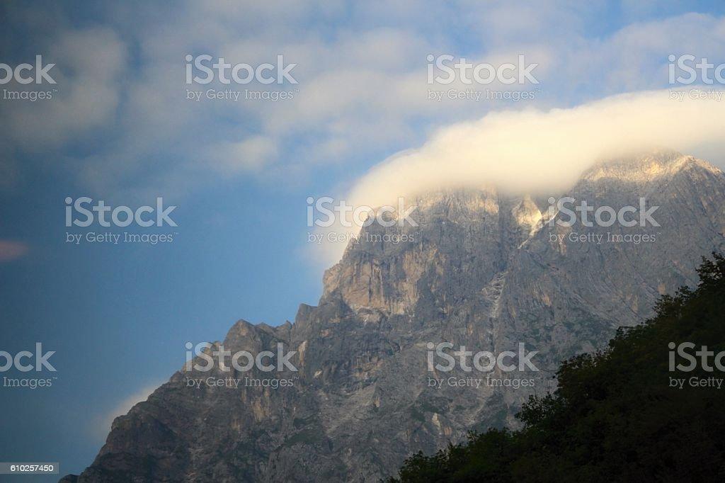 Mountain Gran Sasso in fog. stock photo