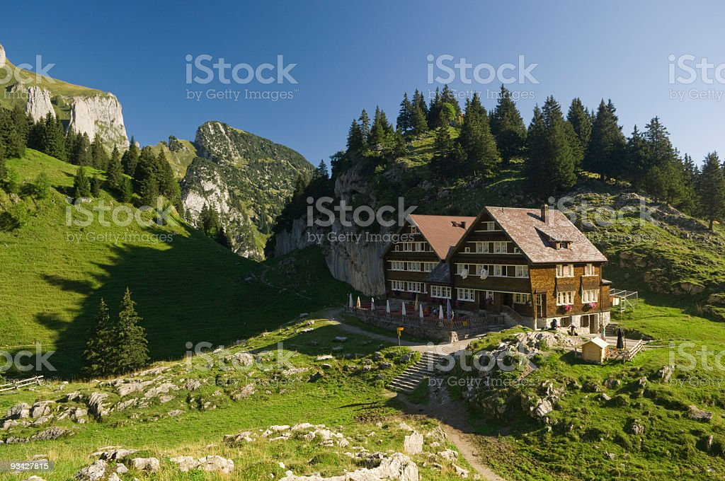 Mountain Guesthouse in the Swiss Alps stock photo