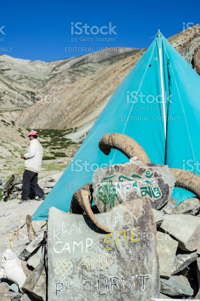 Mountain guide by the Kandala camp tea tent along the Markha valley trek (Ladakh) stock photo