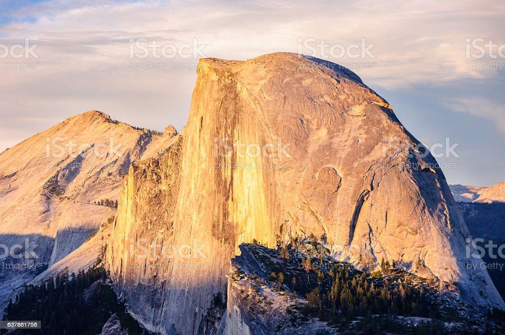 Mountain Half Dome in Yosemite National Park, California, USA stock photo
