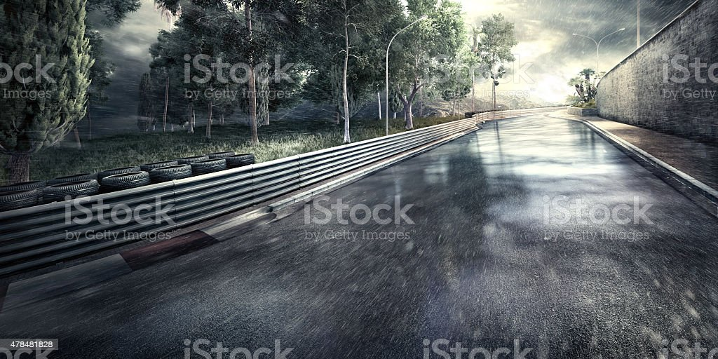Mountain Highway Track at night stock photo