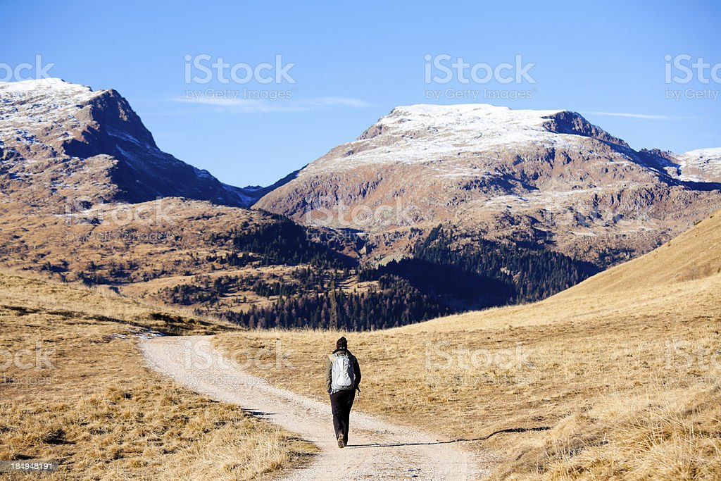 Mountain Hiking in the Dolomites royalty-free stock photo