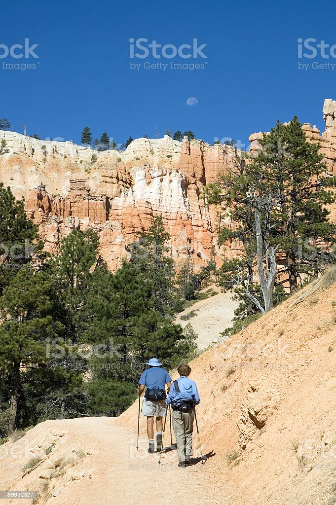 mountain hiking on a clear sky day royalty-free stock photo