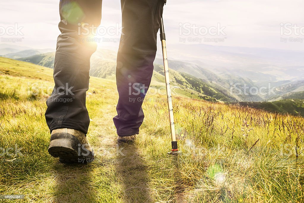 Mountain hiking. stock photo