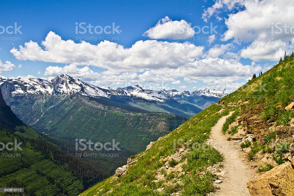 Mountain hiking trail in Glacier National Park, Montana, USA stock photo