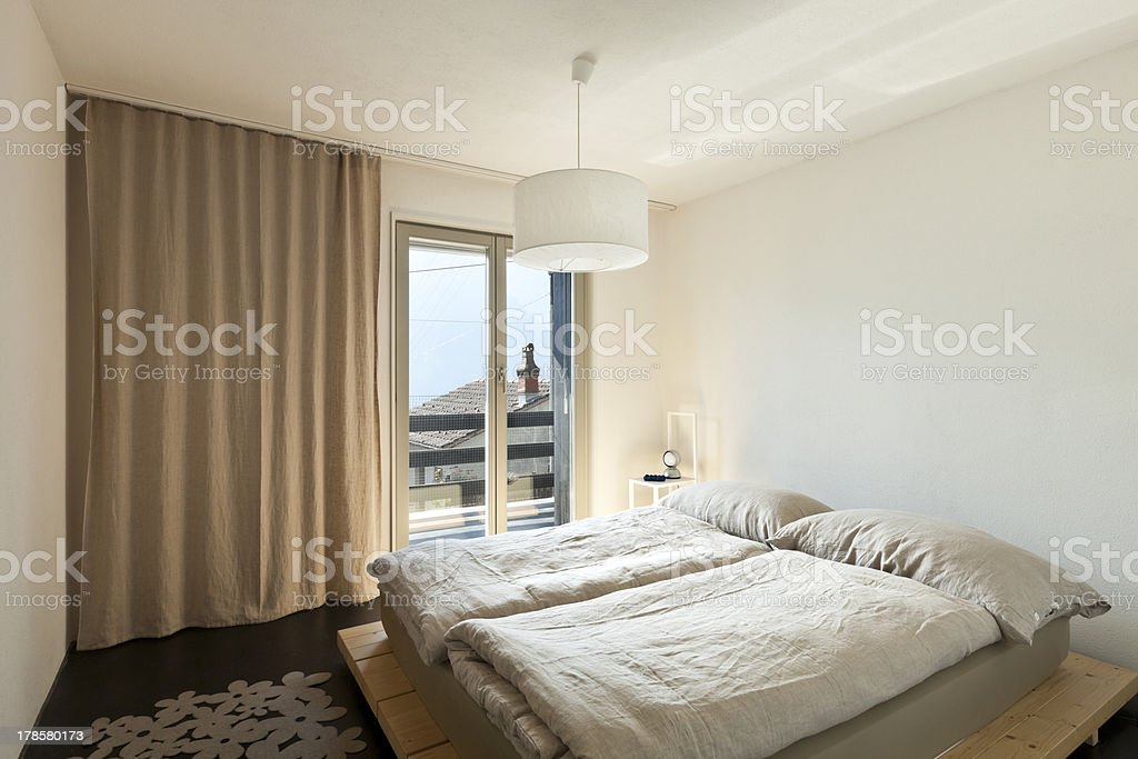 mountain home, bedroom royalty-free stock photo