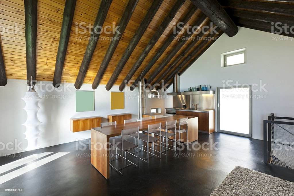 mountain home with modern furniture royalty-free stock photo