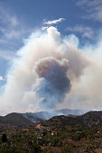 Mountain homes and forest fire Colorado Springs