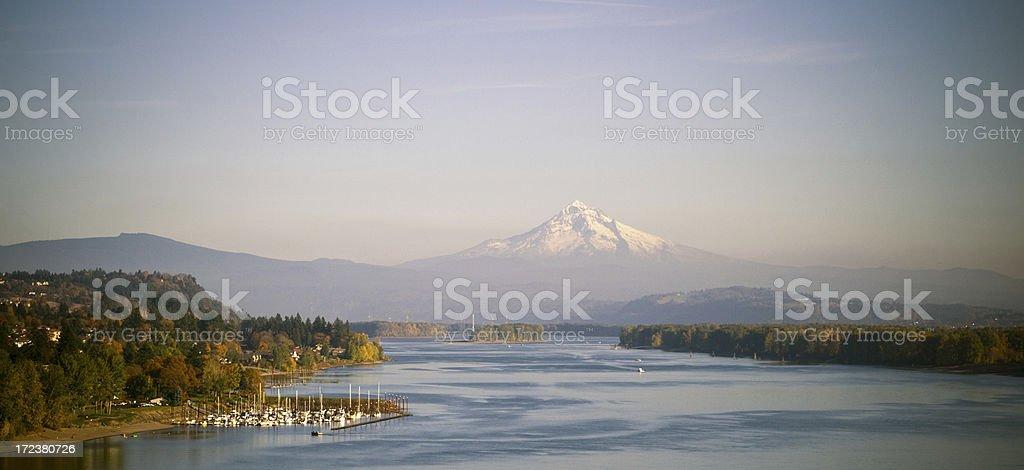 Mountain Hood and Columbia River stock photo