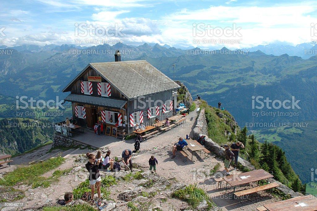 Mountain hostel on Grosser Mythen top. stock photo