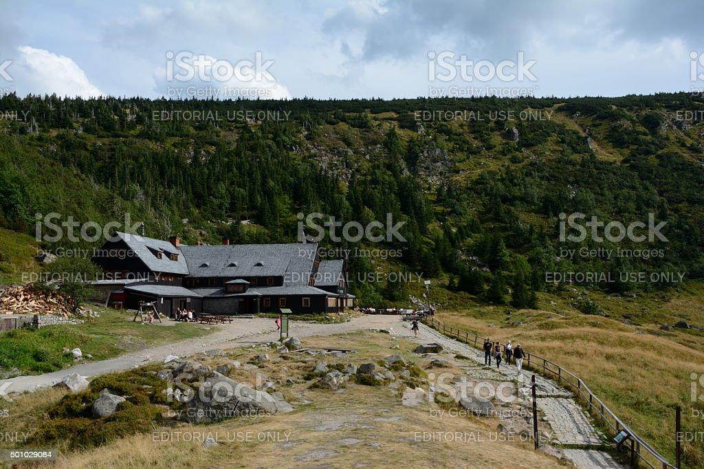 Mountain hostel Samotnia in Karkonosze mountains. stock photo