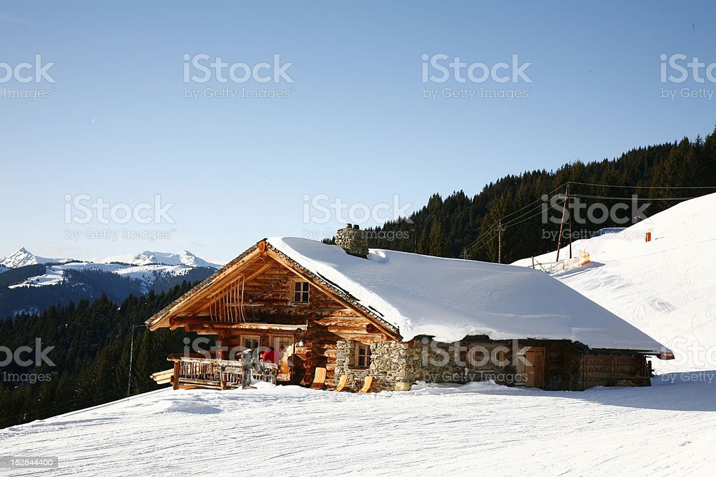 mountain house in the Alps stock photo