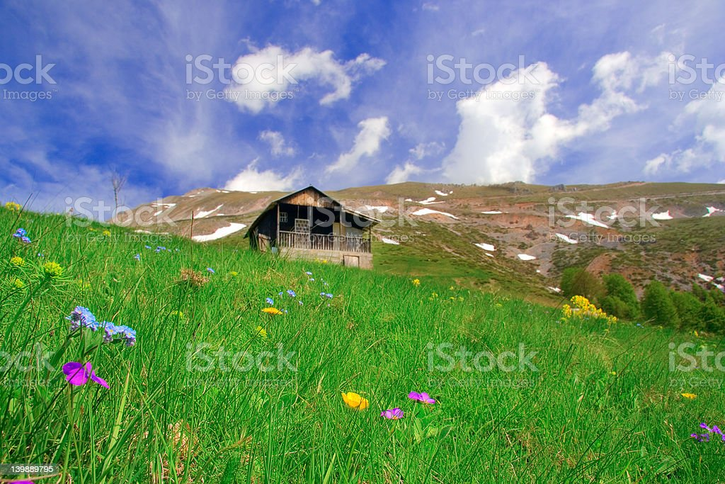 Mountain hut and a meadow royalty-free stock photo