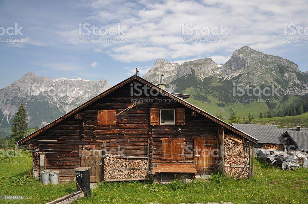 Mountain hut in Austria stock photo