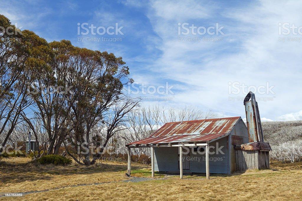 Mountain hut in the Kosciuszko National Park, NSW, Australia stock photo