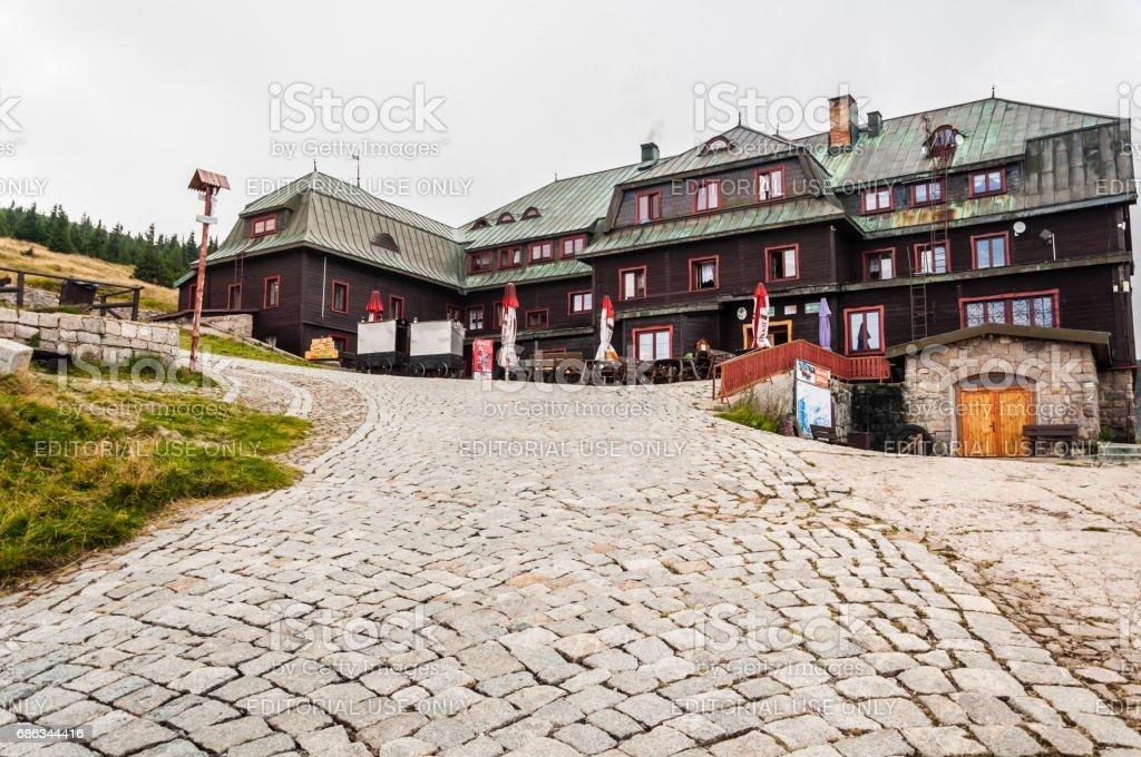 Mountain hut (Strzecha Akademicka) in the Krkonose. stock photo