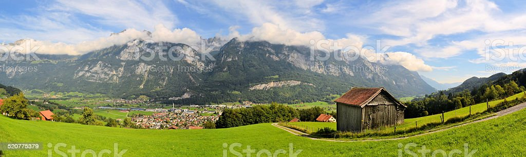 mountain hut in the Swiss alps stock photo