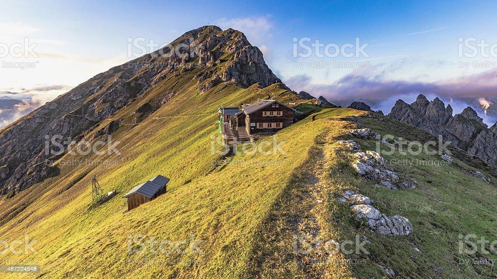 Mountain Hut Noerdlinger Huette in Tyrol, Austria stock photo