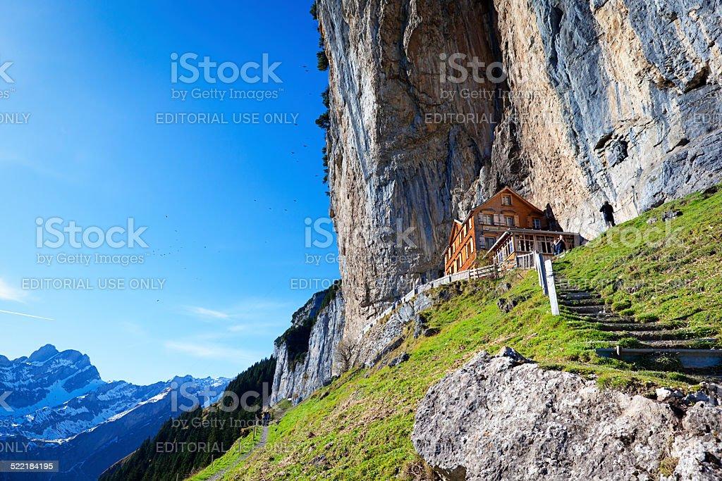 mountain hut restaurant stock photo